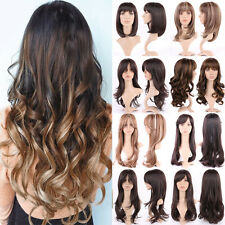 Full Head Wig Long Straight Wavy Curly Cosplay Synthetic Hair Wig Brown Blonde #