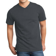 24 PACK ~ Fruit of the Loom Mens Charcoal Tag Free 100% Cotton V-Neck T-Shirts
