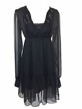 Black Gothic Peasant Chic Boho Retro Gypsy Empire Sheer Summer Lace Dress