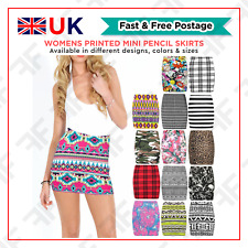 Womens Printed Mini Pencil Skirts Ladies Stretchy Short Bodycon Fancy Top