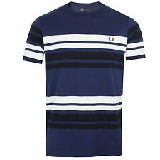 FRED PERRY T SHIRT MENS CARBON BLUE MULTIPLE STRIPE CREW NECK TOP