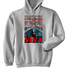 FIDEL CASTRO NOTHING IS IMPOSSIBLE QUOTE - NEW COTTON GREY HOODIE