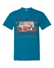 American Pride US Flag Motorcycle Way Short Sleeve Men Antique Sapphire T-Shirt