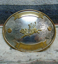 Vintage German Silver / Brass Bull Rider Rodeo Trophy Belt Buckle Very Good Cond