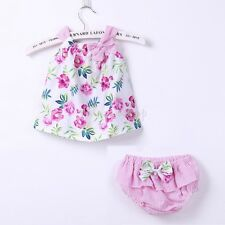 Newborn Baby Girls Outfit Clothes Sleeveless Tops Bloomers Pants Summer 2Pcs Set