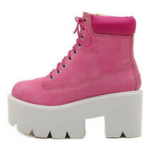 Womens Chunk Heel Platform Lace Up Ankle Boots Punk High Top Motorcycle Shoes