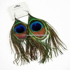 REAL NATURAL GREEN PEACOCK FEATHER DROP DANGLE EARRINGS