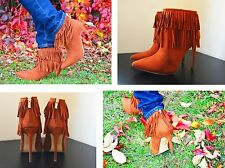 Womens Heel Pointed Toe Fringes Zipped Ankle Boots Tan Brown Faux Suede