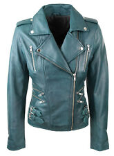 NEW Women Ladies  Real Soft Leather Racing Style Biker Jacket - New Stock