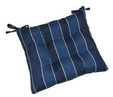 In / Outdoor Denim Blue Stripe Dining Patio Chair Tufted Cushion - Choose Size