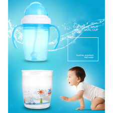 Kid Toddler Baby Drinking Feeding Straw Bottle Handle Sippy Cup Spill Leak Proof