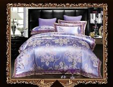 4pc. Luxury Purple Modal Silk Queen King Jacquard 600TC Duvet Cover Set
