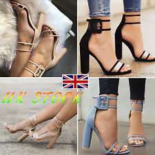 UK Women's Block Thick High Heels Chunky Sandals Prom Party Club Cocktail Shoes