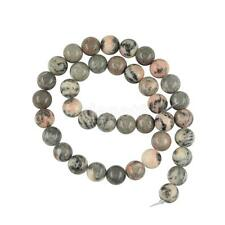 Natural Round Gray and Pink Zebra Jasper Gemstone Loose Beads 4mm 10mm 15""