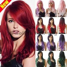 Girly Ombre Hair Wig Long Curly Straight Wigs Women Cosplay Anime Party Dress 0B