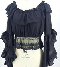 New Retro Gothic Lolita Women Girls Lace Chiffon Blouse Flouncing Top 2 Way Wear