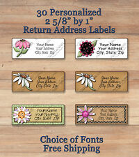 30 CUSTOMIZED Personalized Colorful Spring FLOWER Return Address Labels
