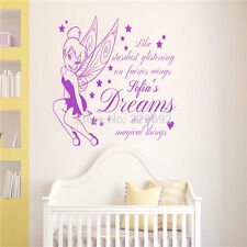 Tinkerbell Customized Girls Name Decal Vinyl DIY Text Personalized Wall Sticker