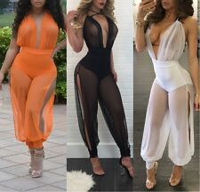 Womens Halter Floral Clubwear Party High Waist Dress Long Jumpsuits Rompers