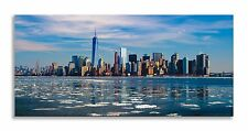 New York Cityscape Winter Blue Skyline Panorama Canvas Wall Art Home Decor