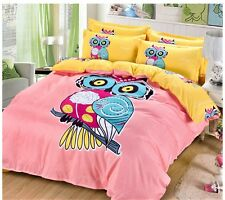 4pc. Pink & Yellow Owl Girl 100% Cotton  Full Queen 300TC Duvet Comforter Set
