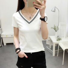 Simple Women's Solid Color T-Shirt V Neck Short Sleeve Shirts Blouse Casual Tops