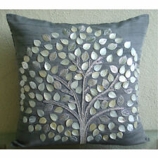 Mother Of Pearls Tree 40x40 cm Art Silk Grey Cushion Covers - Silver Hope Tree