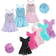 Girls Kids GYM Ballet Dance Leotard Chiffon Tutu Skirt Dress Dancewear Costume