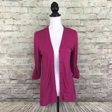 LOGO by LORI GOLDSTEIN Womens Pink Tab Sleeve Button Down Cardigan Size S