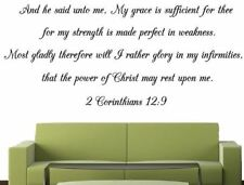 Scripture Wall Decal of 2 Corinthians 12:9. Wall Scripture of Christian Bible Ve