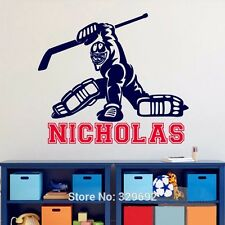 Hockey Customized Boys Bedroom Name Decal Vinyl Text Personalized Wall Sticker
