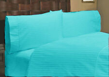 1000TC EGYPTIAN COTTON TURQUOISE STRIPE BEDDING ITEMS EXTRA DEEP POCKET FITTED