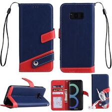 Luxury Leather Flip Stand Wallet Case With Hand Strap Cover For iPhone Samsung E