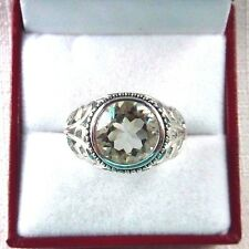 4.26ct Natural Light Green Amethyst,Rhodium White Gold, 925 Sterling Silver Ring