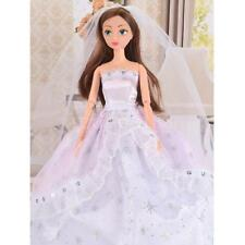 White/Pink Fashion Princess Party Dress Wedding Clothes Gown+Veil for Barbie