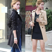Womens Lapel Collar Double-breasted Slim Fit Long Trench Coat Jackets Overcoat