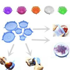 6pcs Silicone Stretch Lids Food Storage Wraps Cover Reusable Seal Kitchen Tools