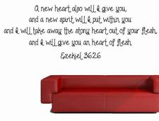 Ezekiel 36:26 Vinyl Wall Art, Removable Wall Decals, Removable Wall Stickers, Wa