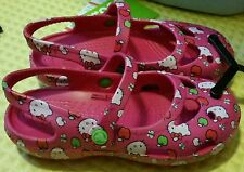 NEW Crocs Hello Kitty Mary Jane Magenta Pink Girls Size 10  - FREE SHIPPING
