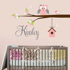 Owl Birds Flower Customized Kids Name Decal Vinyl Text Personalized Wall Sticker