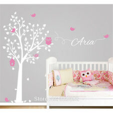 Owl Tree Customized Kids Room Name Decal Vinyl Text Personalized Wall Sticker