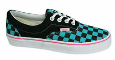 VANS Unisex Era Checkerboard Casual Lace Up Canvas Trainers Black/Turquoise