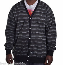 Crooks & Castles Mens $125 Thick Black Cardigan Button Up Sweater Choose Size