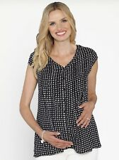Maternity Button Front Loose Fit Nursing Top - Black/ Dots