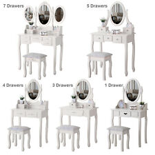 White Dressing Table Set Makeup Desk Table W/Stool and Mirror Bedroom Furniture