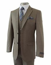 Men's Taupe Brown Sharkskin 3pc 2 Button Slim-Fit Suit w/ Matching Vest NEW