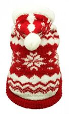 Red Snowflake Dog Hoodie Sweater By Hip Doggie