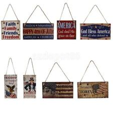 Vintage Wooden Hanging Plaque American USA Patriotic Sign Home Wall Decoration