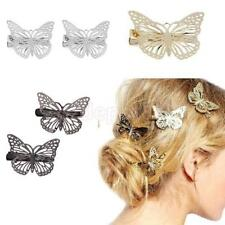 2Pcs Butterfly Bobby Pins Hair Clip Accessories Filigree Metal Silver Gold