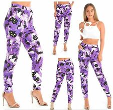 WOMENS LADIES HALLOWEEN PRINT HAREM TAPERED LEG TROUSERS STRETCH PLUS SIZE 8-22